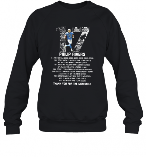 17 Philip Rivers Thank You For The Memories T-Shirt Unisex Sweatshirt