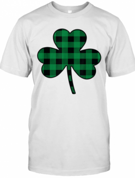 Cute Green Buffalo Plaid Shamrock St Patricks Day T-Shirt