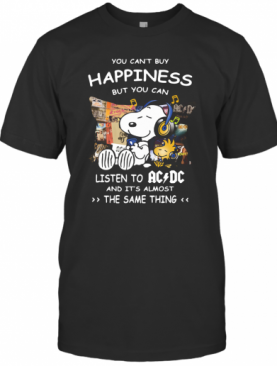 Snoopy And Woodstock You Can'T Buy Happiness But You Can Listen To ACDC T-Shirt