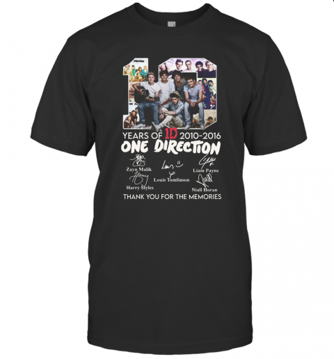10 Years Of 1D 2010 2016 One Direction Thank You For The Memories Signatures T-Shirt Classic Men's T-shirt