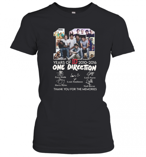 10 Years Of 1D 2010 2016 One Direction Thank You For The Memories Signatures T-Shirt Classic Women's T-shirt