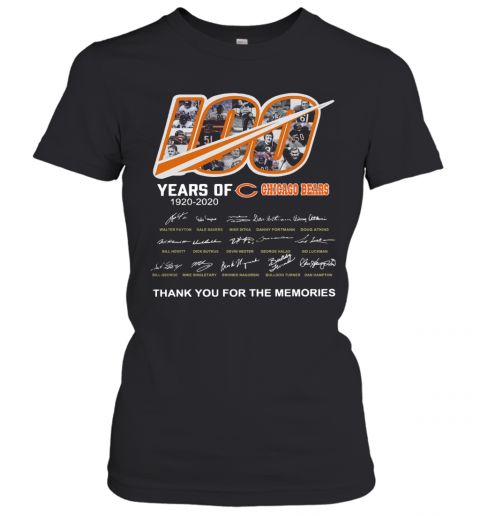 100 Years Of Chicago Bears Thank You For The Memories Signatures T-Shirt Classic Women's T-shirt