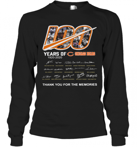 100 Years Of Chicago Bears Thank You For The Memories Signatures T-Shirt Long Sleeved T-shirt