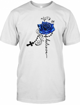 Believe Blue Rose Hippie Cross T-Shirt