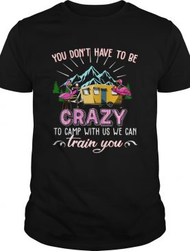 Flamingos You Dont Have To Be Crazy To Camp With Us We Can Train You shirt
