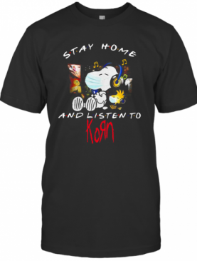 Snoopy And Woodstock Face Mask Stay Home And Listen To Korn Nu Metal Band T-Shirt