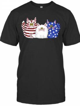 Three Cats Red White And Blue Cute American Flag T-Shirt