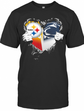 Blood Inside Pittsburgh Steelers Vs Pennsylvania Football Heart T-Shirt