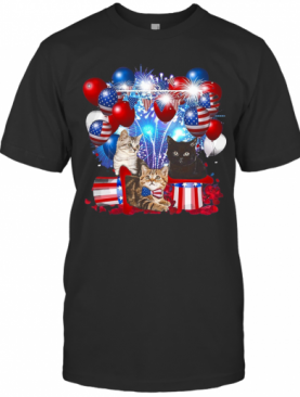 Cats Balloons Fireworks Independence Day 4Th Of July T-Shirt