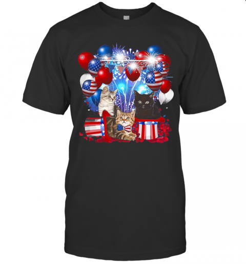 Cats Balloons Fireworks Independence Day 4Th Of July T-Shirt Classic Men's T-shirt