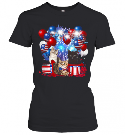 Cats Balloons Fireworks Independence Day 4Th Of July T-Shirt Classic Women's T-shirt