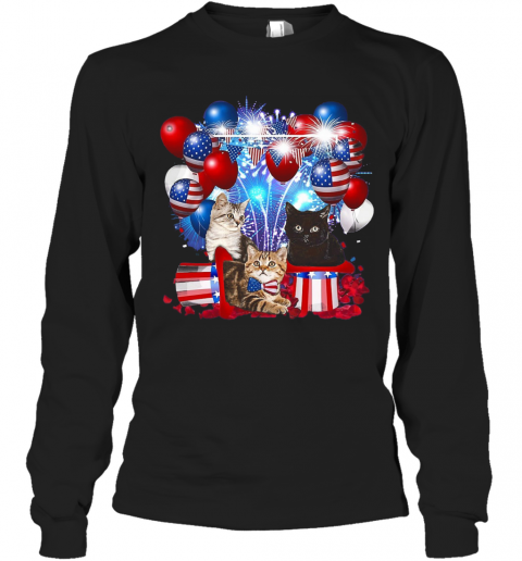 Cats Balloons Fireworks Independence Day 4Th Of July T-Shirt Long Sleeved T-shirt