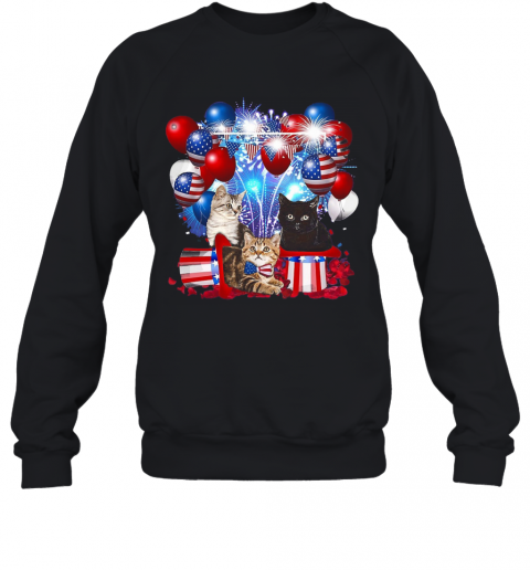 Cats Balloons Fireworks Independence Day 4Th Of July T-Shirt Unisex Sweatshirt