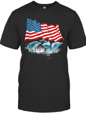 Dolphins American Flag Independence Day T-Shirt