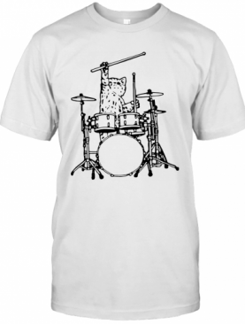 Drummer Cat Music Lover Musician Playing The Drums T-Shirt