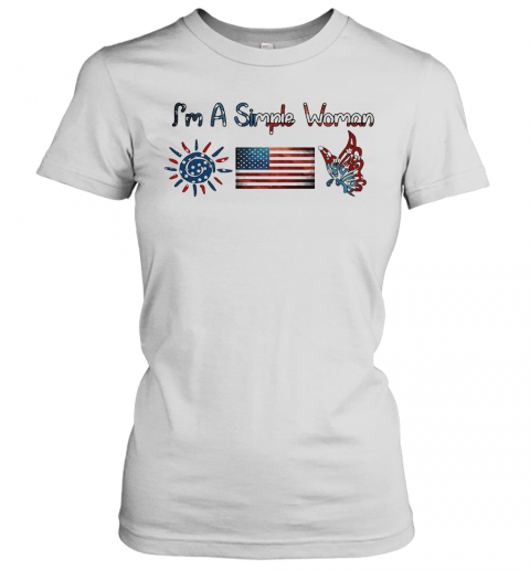 I'M A Simple Woman American Flag Veteran Independence Day T-Shirt Classic Women's T-shirt