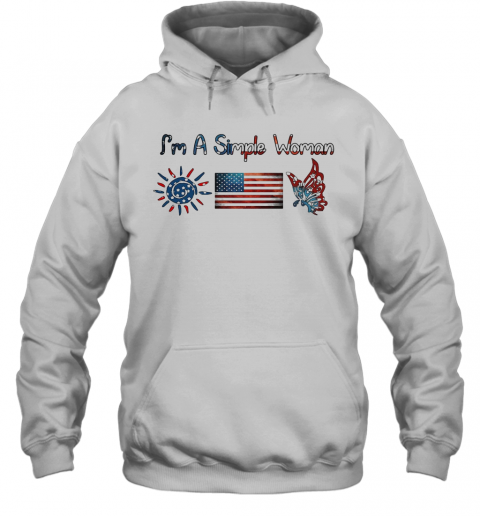 I'M A Simple Woman American Flag Veteran Independence Day T-Shirt Unisex Hoodie