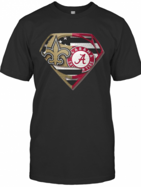Orleans Saints And Alabama Crimson Superman T-Shirt
