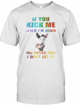 Strong Bull Terrier If You Kick Me When I'M Down You Better Pray I Don'T Get Up T-Shirt