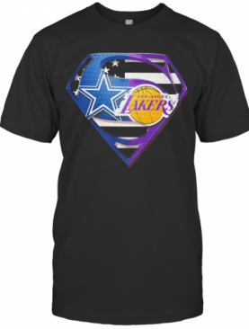 Superhero dallas cowboys and los angeles lakers diamond american flag independence day shirt T-Shirt