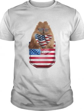 German spitz pocket american flag independence day shirt