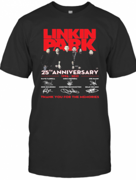 Linkin Park 25Th Anniversary 1996 2021 Thank You For The Memories Signatures T-Shirt