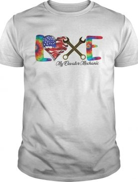Love my elevator mechanic american flag independence day shirt