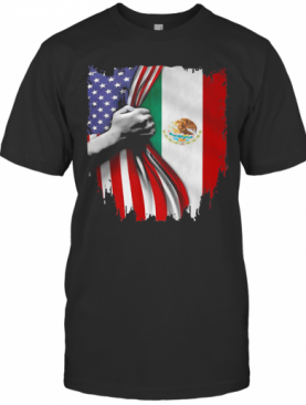 Mexico And American Flag Veteran Independence Day Hand T-Shirt