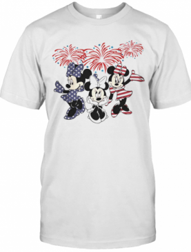 Minnie Mouse Firework American Flag Independence Day T-Shirt
