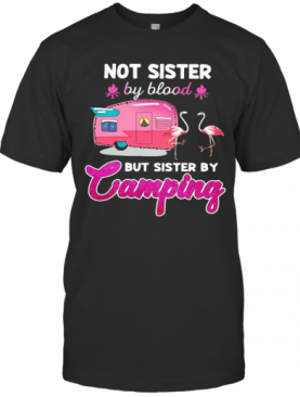 Not Sister By Blood But Sister By Camping Flamingo T-Shirt
