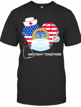 Nurse Mask We Fight Together The Great Steal Of The State Of Iowa Heart American Flag Independence Day T-Shirt