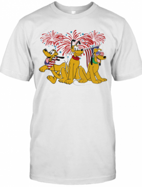 Pluto Dog Firework American Flag Independence Day T-Shirt