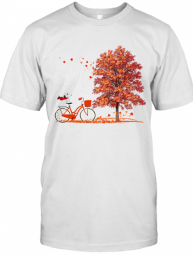 Snoopy Riding A Bicycle Hello Autumn T-Shirt