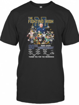 The Notre Dame Fighting Irish 90Th Anniversary 1930 2020 Thank You For The Memories Signatures T-Shirt
