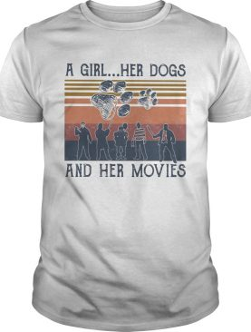 A girl her paw dog and her movies vintage retro shirt
