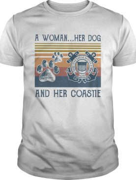 A woman her paw dog and her coastie vintage retro shirt