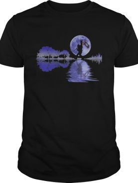 Bigfoot flag river moon tree shirt