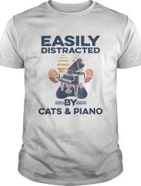 Easily Distracted By Cats And Piano Vintage shirt