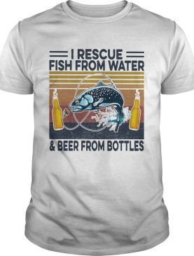 Fishing i rescue fish from water and beer from bottles vintage retro shirt