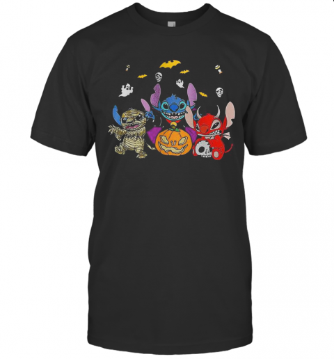 Halloween Stitch Bat And Pumpkin T-Shirt Classic Men's T-shirt