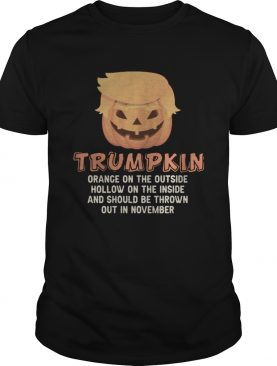 Halloween trumpkin orange on the outside hollow on the inside and should be thrown out in november