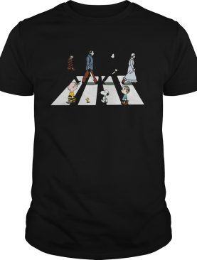 Horror characters and the peanuts abbey road shirt