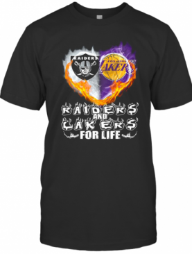 Los Angeles Raiders And Los Angeles Lakers For Life Heart T-Shirt