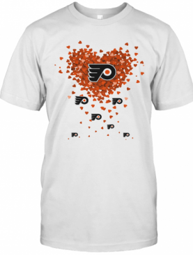 Love Philadelphia Flyers Hockey Logo Hearts T-Shirt