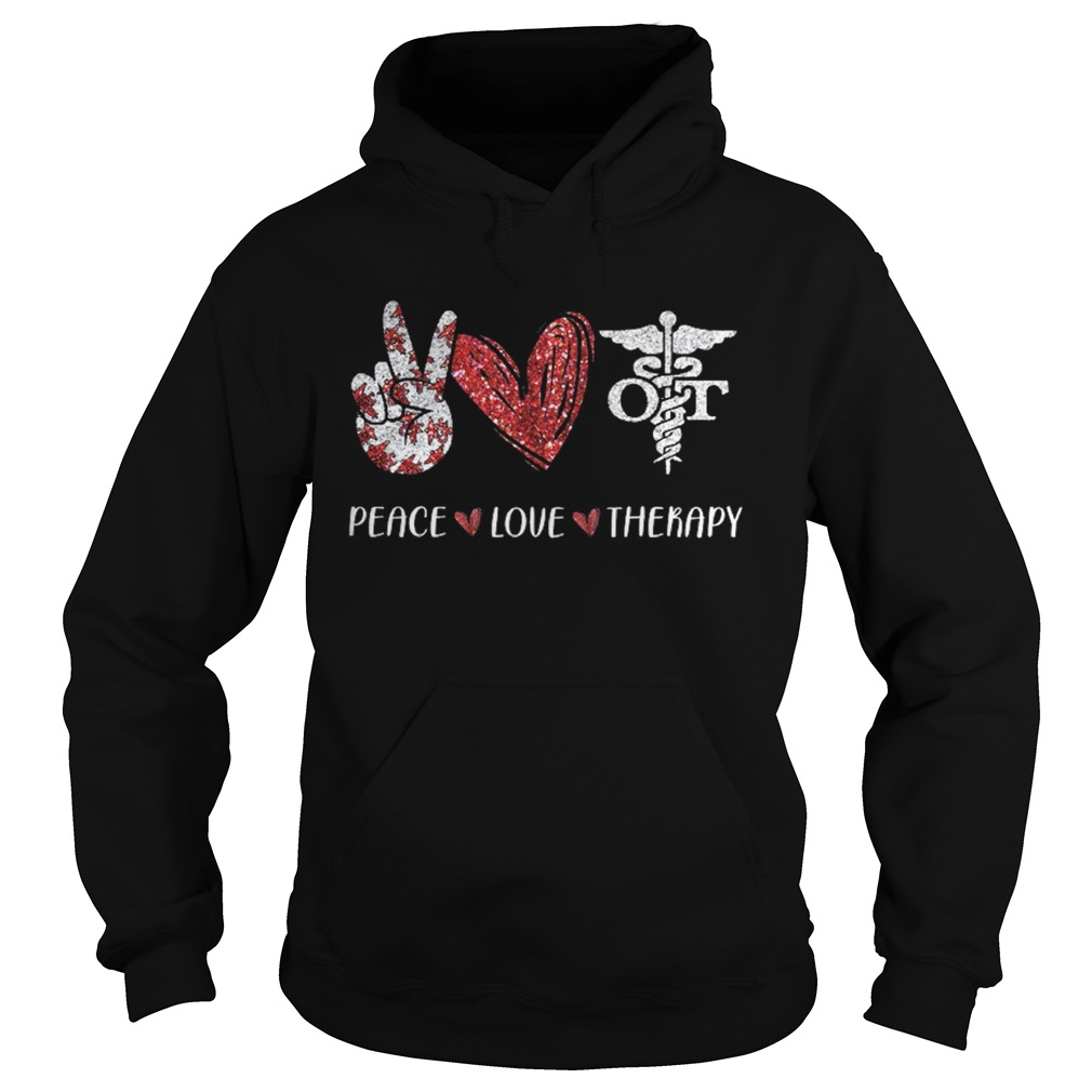 Peace Love Therapy Medical Logo Hand Heart  Hoodie