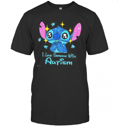 Stitch I Love Someone With Autism Diamond T-Shirt Classic Men's T-shirt