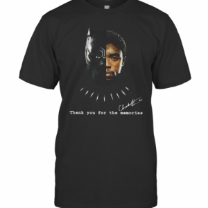 Black Panther Chadwick Boseman 1977 2020 Thank You For The Memories Signature T-Shirt