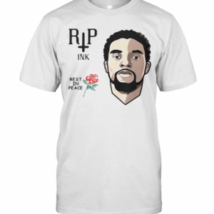 Black Panther Chadwick Rip Ink Rest In Peace Rose T-Shirt