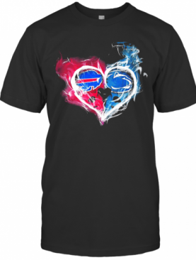 Buffalo Bills NFL And Penn State Nittany Lions Heart Fire T-Shirt