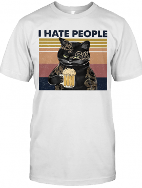 Cat Beer I Hate People Vintage Retro T-Shirt